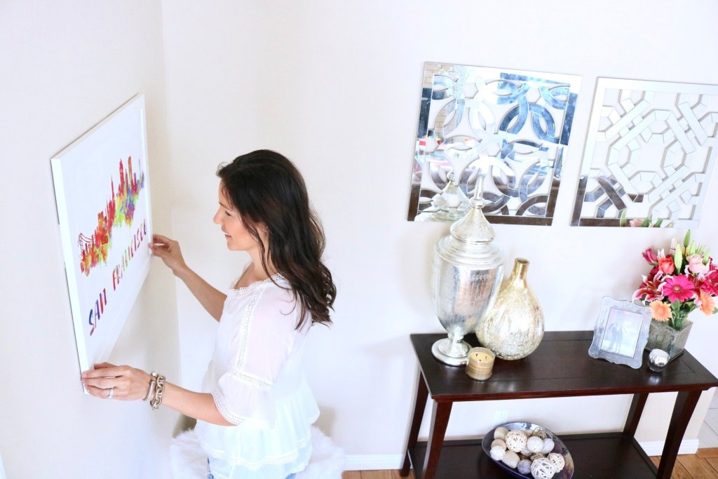 Tips for hanging art, renters décor, San Francisco Poster, San Francisco Canvas, San Francisco Skyline, San Francisco Painting, San Francisco Art