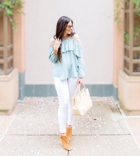 Easter outfit ideas, white jeans, pastel off the shoulder top, how to wear off the shoulder