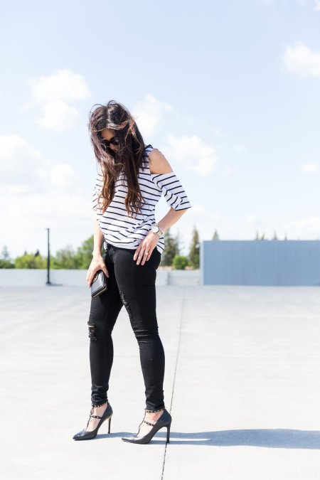 How to style a cold shoulder top, how to style a stripe top, stripe top outfit, spring outfits, day to night outfit, skinny jeans outfit, The Flexman Flat