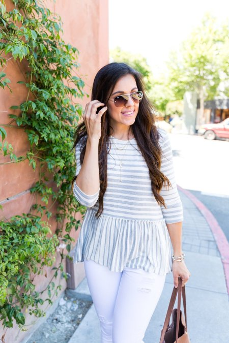 How to style a peplum top, peplum top outfit, how to wear stripes, tips for styling a peplum top, spring outfit ideas