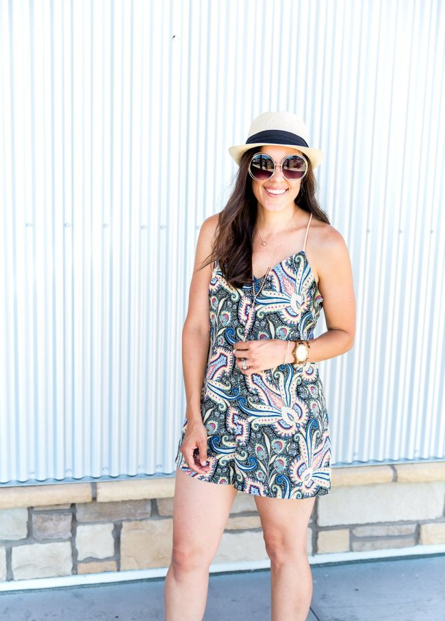 Styling tips for rompers, summer fashion, romper outfit ideas, yellow purse outfit, how to wear a fedora, summer hats