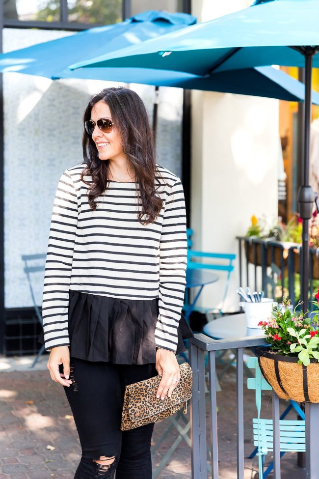 How to mix prints, dressing up a sweatshirt, black leggings, fall style tips, fall fashion ideas, stripes and leopard print
