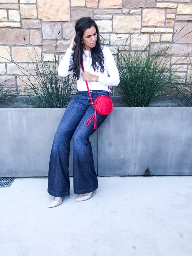 Fitted Te and flare jeans_
