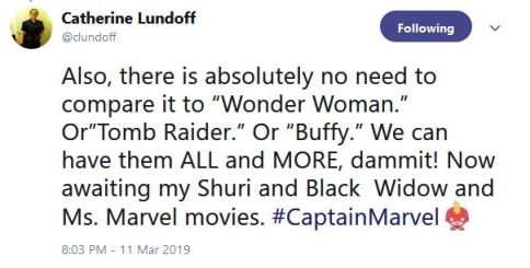 catherine lundoff tweet we deserve all the woman-fronted movies we can get