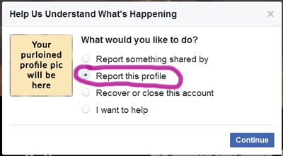 facebook report profile spoofing screenshot