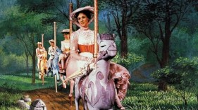 Mary Poppins Julie Andrews on her carousel horse and 1890s white dress