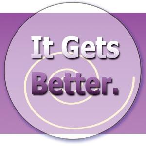 """KK's Purple """"It Gets Better"""" button with swirl"""