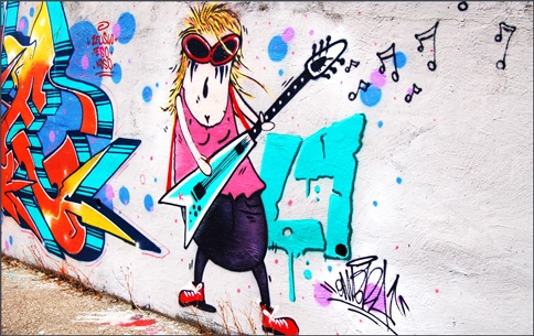 graffiti mama playing guitar