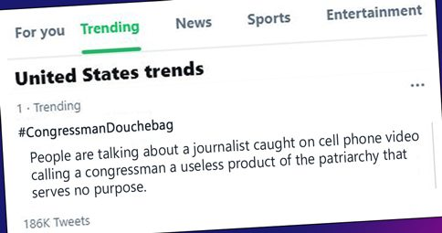 twitter panel showing hashtag congressman douchebag as a #1 trending topic