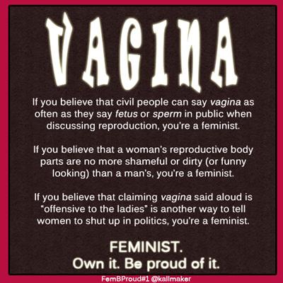 Feminists can say Vagina