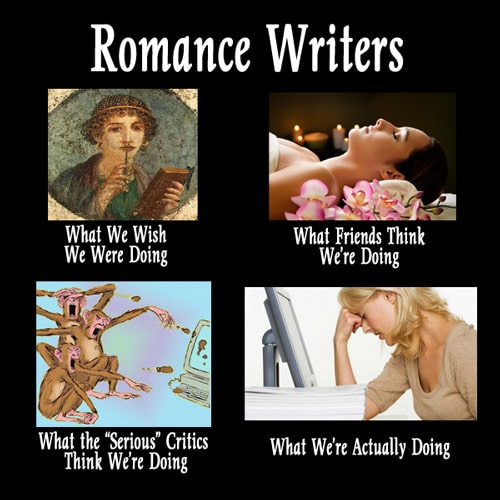 what romance writers do meme by karin kallmaker