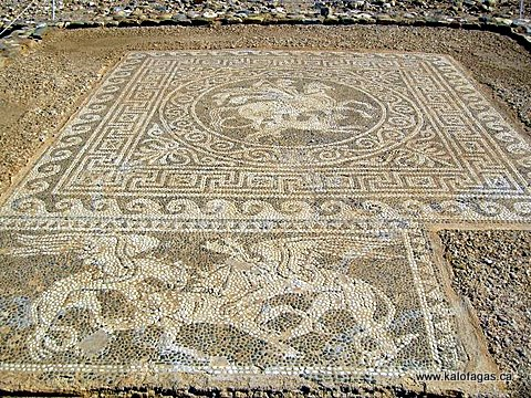 Detailed mosaic flooring found at Ancient Olinthos, Halkidiki, Greece