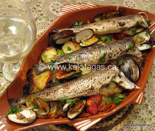 Baked whiting with potato gratin kalofagas greek food for Baked whiting fish