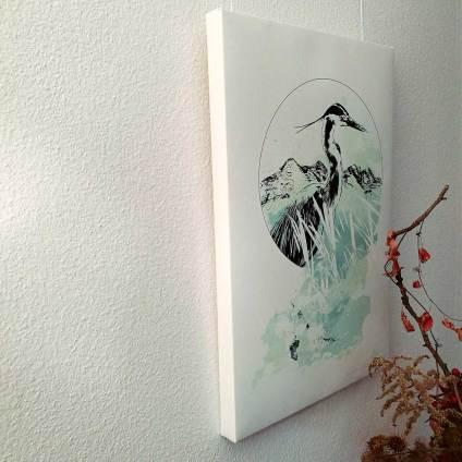 """Ardea Cinerea"" – HelvEdition Mixed Media Illustration by Ka L-O-K Fine Art Canvas Print"