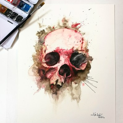 """Watercolor Painting """"Skull Rosa"""", Ka L-O-K"""