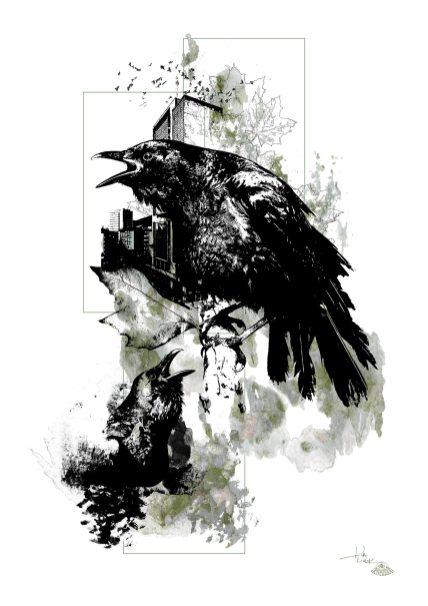 """""""Corvus Corvus"""" (Die Krähen) – Illustration aus der Serie HelvEdition von Ka L-O-K   Graphic Arts"""