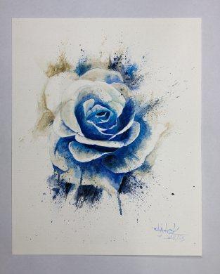 """Aquarelle sur papier torchon """"Blue Rose"""" - Ka L-O-K"""
