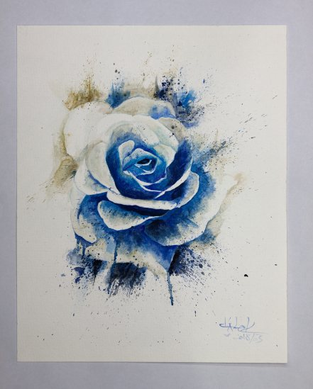 """Blue Rose"" Aquarell auf Torchon Papier- Ka L-O-K"