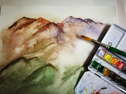 """Colorful Mountains"" Aquarelle on torchon paper - Ka L-O-K"
