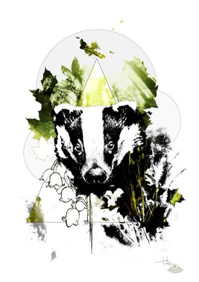 """""""Le blaireau""""   HelvEdition – Meles Meles, art graphique par Ka L-O-K"""