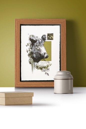 """Wildsau"" | HelvEdition – Sos Scrofa von Ka L-O-K | Kunstdruck auf Büttenpapier"