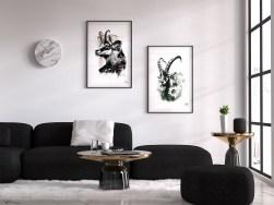 Mock Up mit den HelvEdition Illustrationen die Gämse und der Steinbock von Ka L-O-K | Graphic Arts