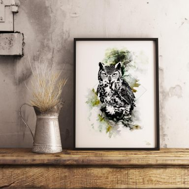 """Mock Up with HelvEdition illustration """"Bubo Bubo"""" (The Eagle Owl) by Ka L-O-K 