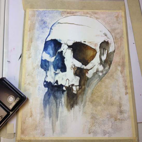 "Watercolor Painting ""Skull Primarius"",my first one, Ka L-O-K"