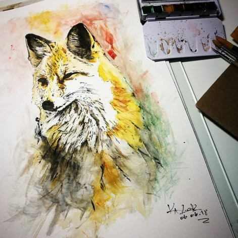 "Aquarelle on torchon paper ""The Fox"" - Ka L-O-K"