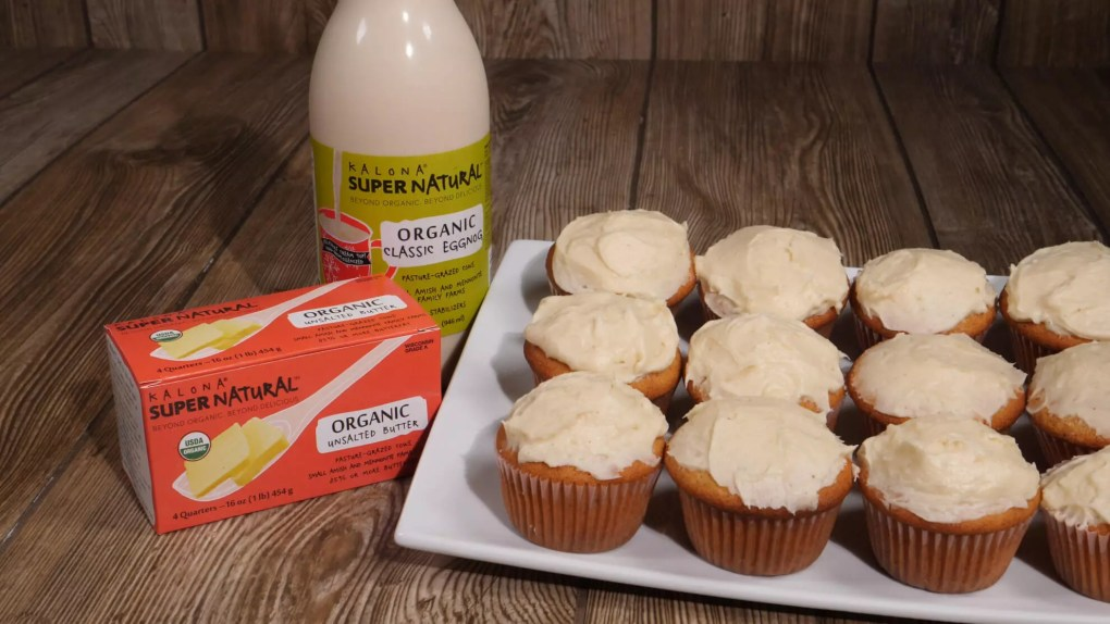 Frosted eggnog cupcakes with Kalona SuperNatural eggnog and butter.
