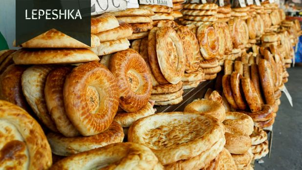 Lepeshka or Round Bread sold in bazaars of Central Asia