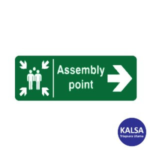 Safety Sign Assembly Point Right Direction Glow In The Dark Sticker Only
