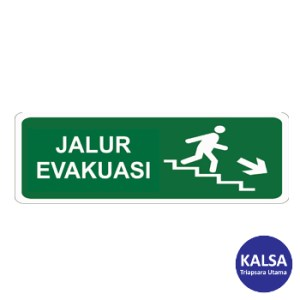 Safety Sign Evacuation Route Direction Go Down The Right Ladder Reflective with Aluminium Board