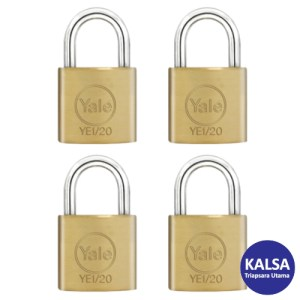 Yale YE1/20/111/4 Essential Series Indoor Brass Shackle 20 mm Security Padlock