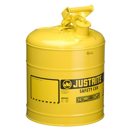 Distributor Justrite 7150200 Type I Yellow Larger Capacity Trigger Safety Container