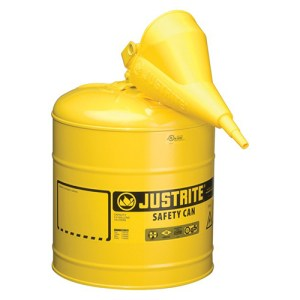 Justrite 7150210 Type I Yellow Larger Capacity Trigger Safety Container