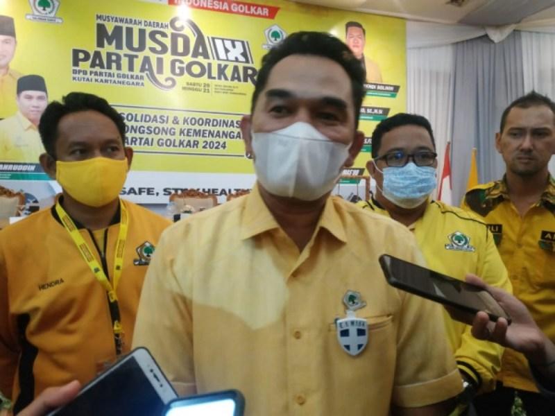 Hasanuddin Mas'ud dalam Musda Golkar Kukar, Sabtu (20/3/2021)