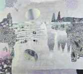 Kirsti Muinonen: Jää, 2014. Akryyli ja öljy kankaalle, 135 x 150 cm.