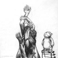 """""""Mankind"""". Hiili kankaalle, 60 × 60 cm, 2014."""