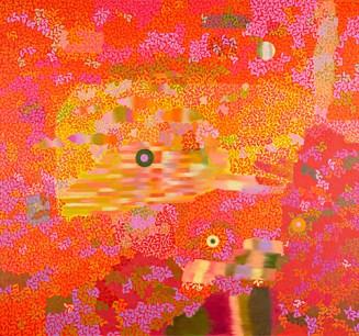 Kirsti Muinonen: Galaksissa, 2014. Öljy kankaalle, 150 x 160 cm