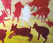 Erja Kärkkäinen: Näen punaista, 2017. 100 × 120 cm, öljy kankaalle.
