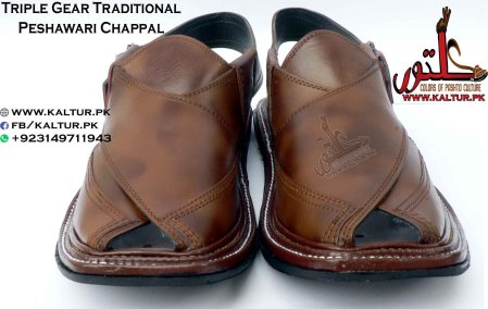 Traditional Peshawari Chappal New Arrival Triple Gear Design Double Shade Color