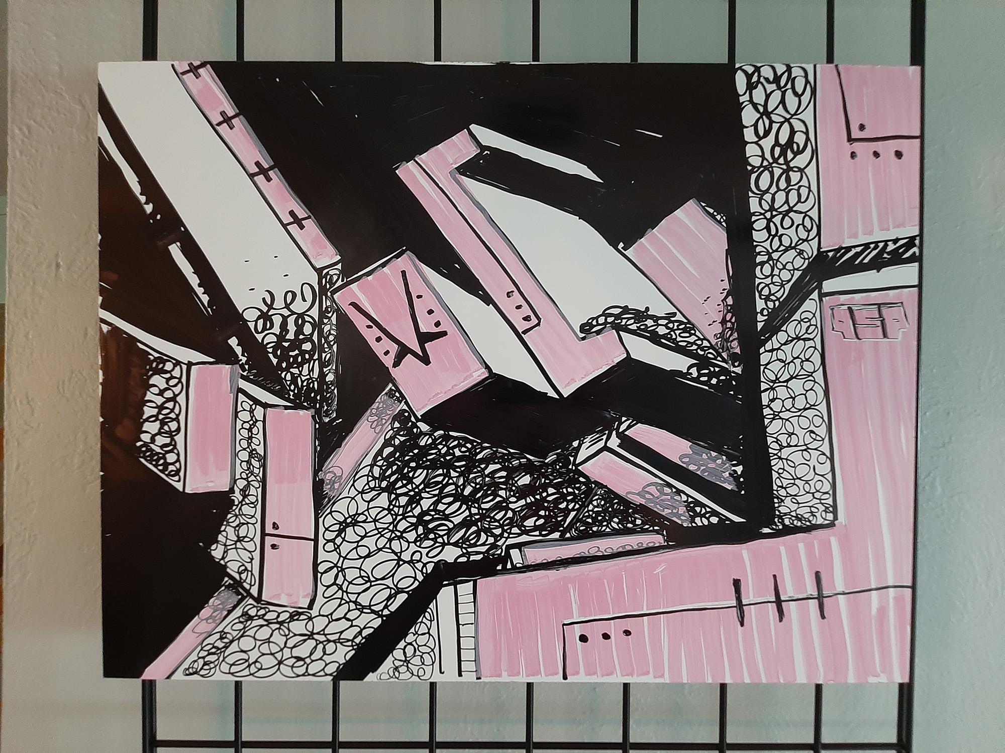 Pink mechanical art piece by Orlando artist QSP