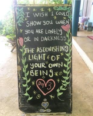 a poem written on a chalkboard