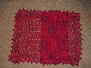 red beaded shawl - adapted from Knitted Lace of Estonia (wool / alpaca / nylon)