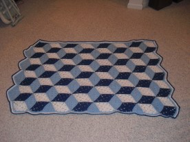 tumbling blocks blanket - adapted from free Red Heart pattern (acrylic)