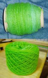 handspun 2-ply yarn, kool-aid dyed (wool)