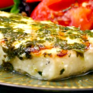 Top photo for Grilled Halibut with Garlic Cilantro Sauce