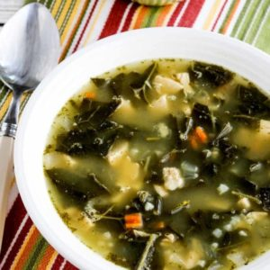 Low-Carb Chicken Soup with Collards, and Lemon close-up photo