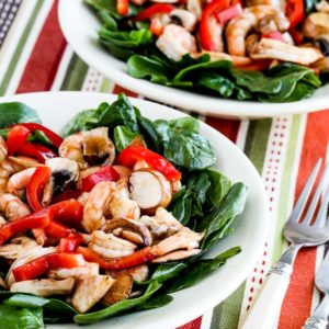 Closeup-photo for Asian Spinach Salad with Shrimp, Red Pepper, and Mushrooms
